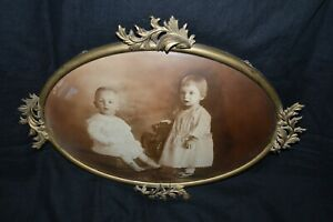 Large Antique Curved Glass Brass Picture Frame W 2 Children In Victorian Clothes