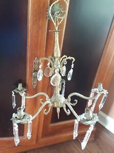 French Vintage Crystal Pendants Drops Brass Or Bronze Chandelier From France