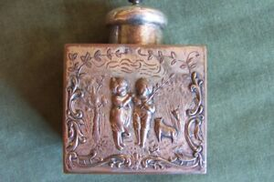 Antique Tea Caddy Copper W Silver Plate Well Worn Young Lovers Topless Maiden