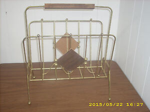 Antique Vintage 50 S Gold Metal Magazine Newspaper Rack Stand With Wood Handle