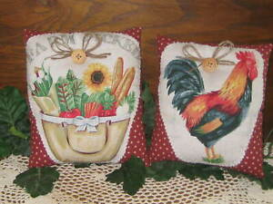Rooster Farm Basket Shelf Sitters Fabric Bowl Fillers Country Kitchen Home Decor