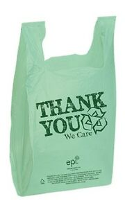 Plastic T shirt Bags 3000 Shopping Retail 11 X 6 X 21 Recycled Thank You Green