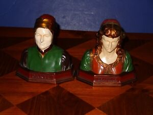 Dante And Beatrice Enamel On Bronze Busts By Ronson Early 1920 S