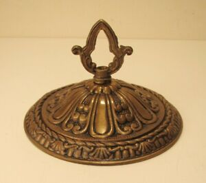 Wide 6 1 4 Dia Antique Brass Bronze Chandelier Ceiling Canopy Cap Vintage