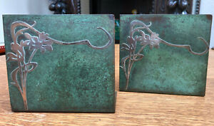 Pair Antique Heintz Sterling Silver On Bronze Arts Crafts Bookends