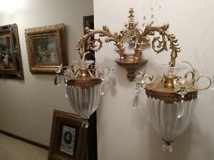 Gorgeous Pair Victorian Style Brass Glass Crystal Wall Sconces