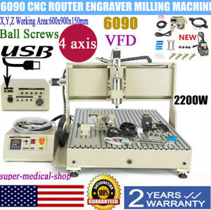 4 Axis 6090 Cnc Router Engraver 3d Milling Machine Spindle Motor Vfd 2200w Usa