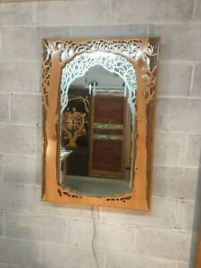 Artistic Wood Carved Glass Etch Designer Wall Mirror With Lighting