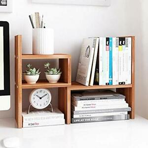 Desktop Organizer Office Storage Rack Adjustable Wood Display Shelf Stand Decor