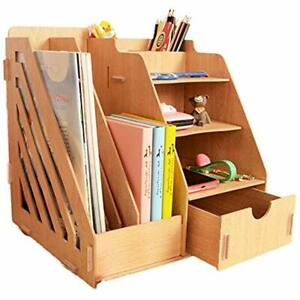 Wood Desk Organizer Drawer Trays Office Desktop Organizers File Holders 4 Tier