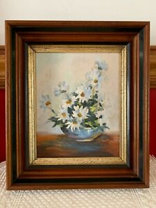 Antique Victorian Wood Picture Frame Walnut W White Daisies Painting 12 X 14