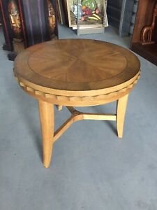 Vintage Hollywood Regency Round Wood Side End Table High Quality