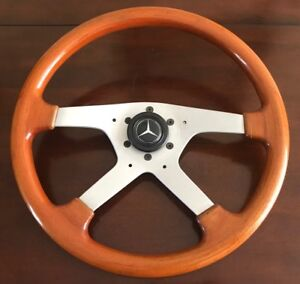 Momo Vintage Wood Steering Wheel Mercedes Benz Horn Italy 1986