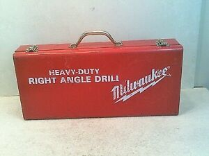 Vintage Milwaukee Heavy duty Right Angle Drill W Metal Case