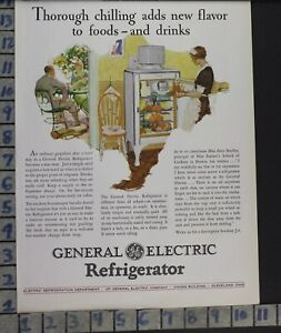 1928 Ge Monitor Top Refrigerator Food Kitchen Home Decor Vintage Art Ad Cf73