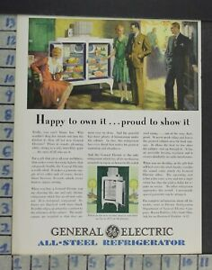 1929 Ge Refrigerator Kitchen Monitor Top Model Home Decor Vintage Art Ad Co57