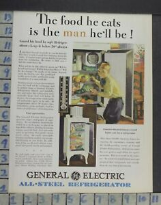 1929 Ge Refrigerator Kitchen Monitor Top Model Home Decor Vintage Art Ad Co56