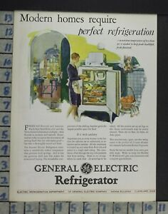 1928 Ge Refrigerator Kitchen Monitor Top Model Home Decor Vintage Art Ad Co51