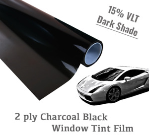 24 X 50 ft 15 Vlt Charcoal Black Window Tint Film Uncut Roll Dark Shade