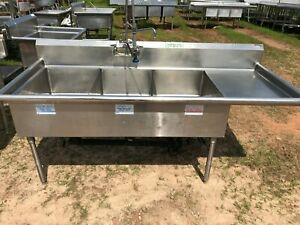 Amtekco 84 3 4 Stainless Steel Heavy Duty 3 Compartment Sink With Overspray Nsf