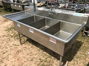Amtekco 84 1 2 Stainless Steel Heavy Duty 3 Compartment Sink With Overspray Nsf