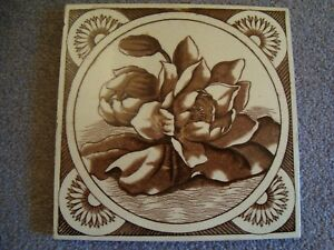 Aesthetic Style Sepia Brown Coloured Floral Tile 19 69