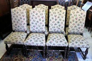 French Antique Upholstered Set Of 8 Louis Xiv Dining Chairs C 1880s