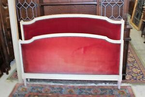 Antique French Painted Upholstered Louis Xvi Full Size Bed Rails 1880