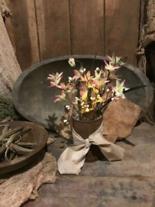 Primitive Country Spring Pink Yellow Flowers Candle In Rusty Can Cupboard Tuck