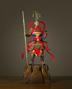 17 Bronze Brass Copper Freehand Colored Drawing Sun Wukong Monkey King Statue