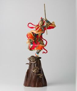 27 Bronze Brass Copper Freehand Colored Drawing Sun Wukong Monkey King Statue