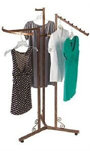 3 way Clothes Rack Clothing Copper Finish Boutique Garment Retail Display