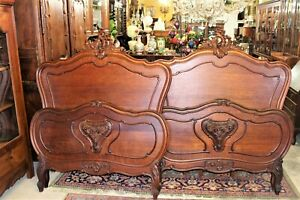 Antique French Oak Louis Xv Pair Of Twin Bed Rails 1880