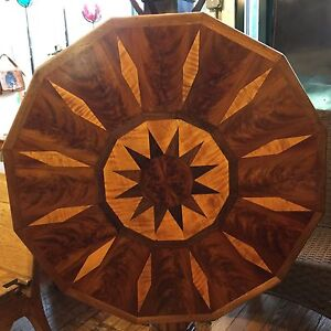 Antique 12 Sided Mahogany Rosewood Walnut Marquetry Tilt Top Round Side Table