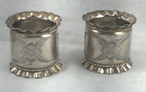 Pair Of Vintage Silver Plate Ruffle Edge Etched Roped Large Napkin Rings 1 7 8