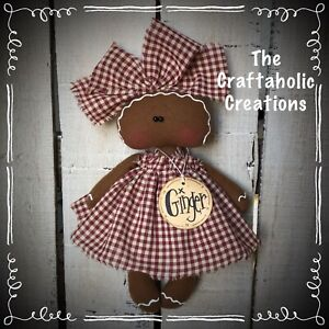 Custom Primitive Raggedy Doll Gingerbread Ginger Tag Kitchen Barn Red Check