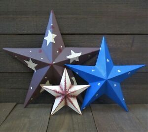 Hand Painted Patriotic Country Barn Stars Wall Decor Set Of 3 Americana 14 10