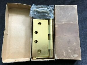 Vintage Stanley Steel Satin Brass Plated Butts Door Hinges W Boxes 2 Sets 4x4
