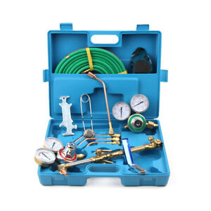 Gas Welding Cutting Welder Kit Oxy Acetylene Oxygen Torch W 15 hose Plastic Case