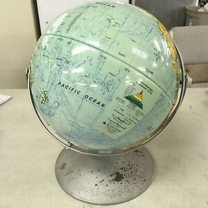 Nystrom Sculptural Raised Relief Double Axis 12 Globe On Metal Base Classroom
