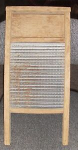 Vintage Antique The Federal Washboard Company Chicago 46 Wood Ribbed