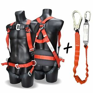 Fall Arest Protection Universal Padded Safety Harness Kit And Webbing Lanyard