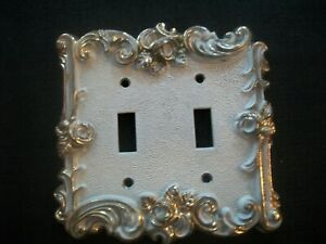 Vtg American Tack Hardware Brass White Double Gang Light Switch Cover 1967