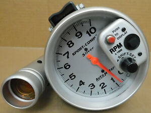 Autometer 3904 Sort Comp Silver Shift lite Tach 10 000 Rpm 5 Dia