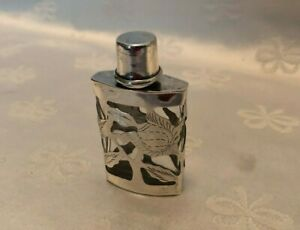 Vintage Mexico Sterling Silver Glass Perfume Bottle