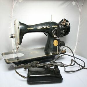 Singer Sewing Machine Antique Table Mount Manufacturing Co Black Gold And Pedal