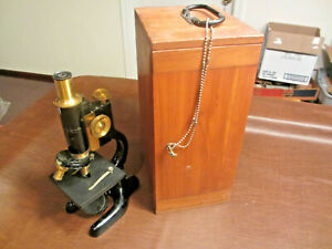 Vintage Antique Bausch Lomb Science Medical Laboratory Microscope In Wood Case