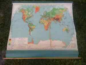 Vintage 1940 S A J Nystrom Co Pull Down Map No Lp98 55 W X 48 H