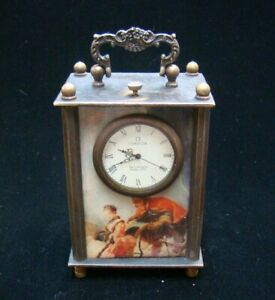 Collectible Handmade Carving Statue Copper Bronze Mechanical Clock Art Deco