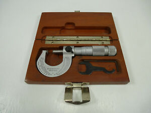 Brown Sharpe Swiss Made 1 Outside Micrometer 0 1 W Carbide Tipped Faces